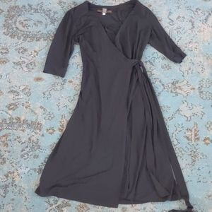 Merona black sleeved below the knee wrapped dress